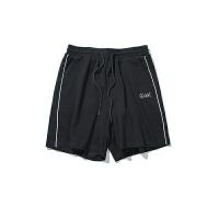 夏季日系刺绣休闲短裤男士加肥加大码韩版宽松五分裤潮流运动裤子