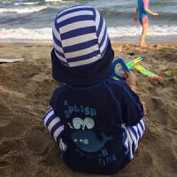 儿童泳衣男童宝宝连体条纹鲸鱼冲浪服游泳衣