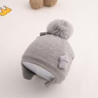 婴儿帽子秋冬季护耳毛线帽0-6-12个月婴幼儿保暖宝宝针织帽女潮男 均码