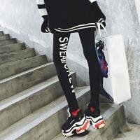 印花字母打底裤女外穿2018春黑色弹力运动显瘦高腰纯棉休闲九分裤 黑色 均码 春季薄款 130斤内均可穿