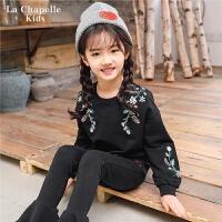 拉夏贝尔女童卫衣秋新款韩版黑色绣花休闲儿童打底衫上衣潮