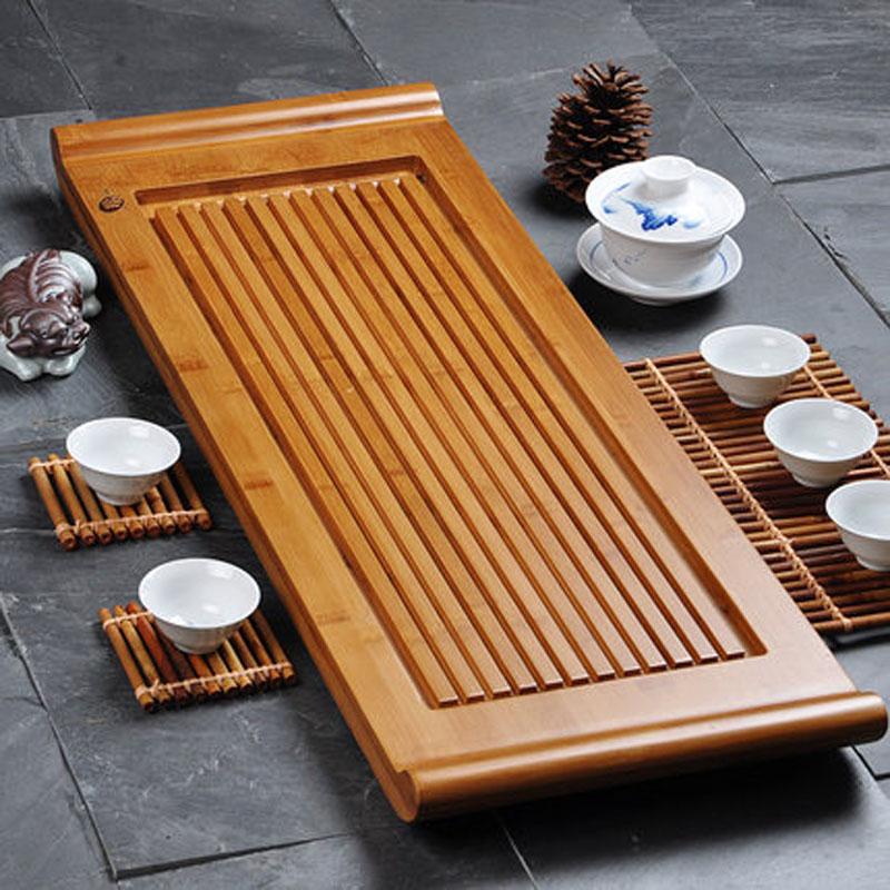 功夫茶具实木小号茶台托盘茶盘竹制大号 排水式单层茶海