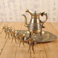 中式复古青铜酒具套装分酒器家用白酒壶仿古酒杯高脚杯酒樽礼盒装