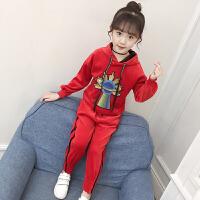 女童洋气套装2018新款春秋装儿童时尚运动金丝绒两件套女孩卫衣服 红色 春秋款