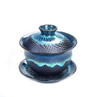 青花瓷盖碗大号茶备陶瓷功夫茶具三才碗杯敬茶碗泡茶壶茶杯