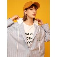 【开学季,满减价:96元】初语小外套女短款春装新款原宿风宽松学生衬衫拼接连帽上衣#