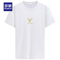 【2折预估到手价:44叠券更优惠】罗蒙男士印花T恤衫薄款时尚休闲纯棉上衣中青年短袖T恤男
