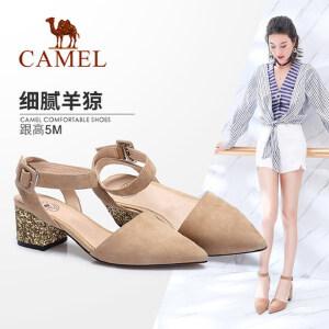 Camel/骆驼女鞋 2018春季新款 通勤尖头粗跟单鞋女性感腕带中跟浅口单鞋