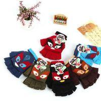 秋冬款儿童半指写字手套 保暖韩版卡通翻盖针织新款手套颜色随机