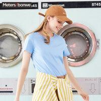 【满299减200】美特斯邦威短袖T恤女简约百搭纯色纯棉打底衫舒适潮2018夏季新款