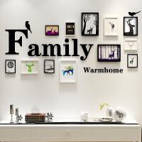 创意欧式挂墙相框组合客厅照片墙面装饰像框相架7寸画框外框装裱 生财有鹿-黑白 003