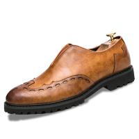 男士英伦尖头皮鞋一脚蹬懒人套脚皮鞋百搭潮流松糕发型师结婚皮鞋