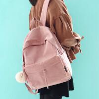 文艺复古灯芯绒双肩包女简约纯色毛球背包学生条绒书包 #0313粉色 条绒毛球包