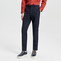 【全场2件2.5折,到手价:132.3】MECITY男装冬季新款西裤小细条纹商务西裤简约商务风裤子