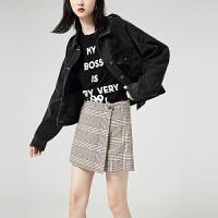 初�Z格子裙�春�b新款�凸庞���L��松字短��腿�小西�女