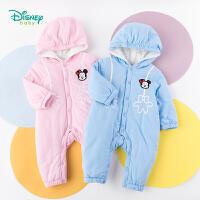 迪士尼Disney童装 男女宝宝夹棉前开连体衣婴儿连帽爬服冬季新品保暖哈衣194L837
