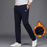 秋冬款男士休闲运动裤男直筒宽松长裤子针织加厚款加绒加大码卫裤