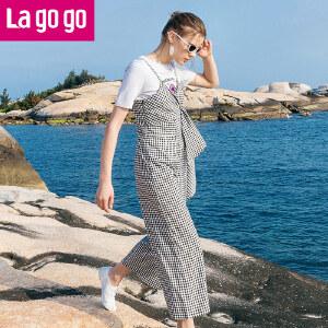 【清仓3折价137.7】Lagogo/拉谷谷2019年新款时尚拉链吊带休闲阔腿裤HAKK643C47