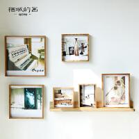 复古实木相框创意挂墙组合连体挂DIY宝宝文艺正方形北欧简约画框 实木DIY相框