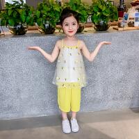 女童套装 新款夏季儿童韩版菠萝吊带+七分阔腿裤洋气两件套