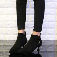 小短靴女2018秋款女矮靴子性感潮百搭冬天黑色尖头高跟细跟马丁靴 TBP
