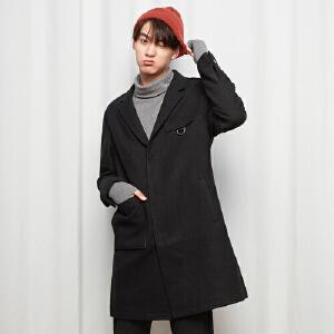 【1件3折到手价:101.7】美特斯邦威旗下4M毛呢大衣男中长款冬装修身呢子外套韩版都市西装