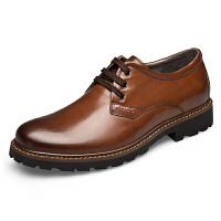 秋季男鞋英伦大头皮鞋男士休闲鞋真皮工装鞋男低帮厚底复古马丁鞋真皮