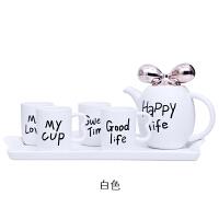 欧式精美咖啡杯套装简约杯子水具英式下午花茶具茶杯客厅家用水杯 白色 新款蝴蝶结水具
