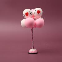 创意可爱彩色气球汽车摆件小清新车载内仪表台饰品告白小气球摆件 紫色 LOVE粉白气球