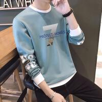 长袖T恤男士休闲运动套装2018秋季新款潮流圆领男装上衣服男套