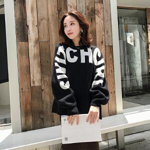 2018韩版女冬装新款宽松休闲套头个性潮流字母毛衣针织衫加厚保暖