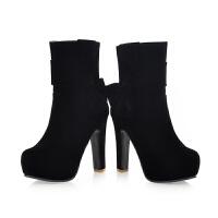 新款甜美女靴蝴蝶结跟马丁靴潮女短靴秋冬季粗跟中靴短筒女鞋