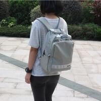 防水尼龙双肩包女包旅行学生收纳包商务书包妈咪包5.6寸电脑背包 灰色小号 可装13.3寸电脑