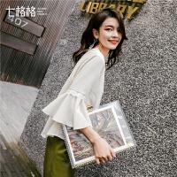 七格格蕾丝上衣女韩版2019春季洋气小衫新款白色宽松荷叶边雪纺衫