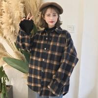 格子毛呢加厚衬衫外套女秋冬新款韩版复古bf风宽松中长款衬衣学生