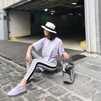 夏天家2018春夏新款韩版侧面条纹紧身运动裤子女外穿韩国弹力修身 灰色 均码