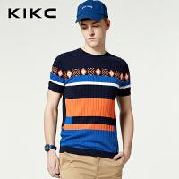 kikc短袖休闲针织衫男2018夏季新款圆领时尚T恤男