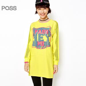 【不退不换】PASS女装春装新款 百搭潮流拼接网布黑色黄色图案印花短连衣裙6612411012