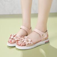 夏季小女孩儿童凉鞋韩版女大童学生软底时尚花朵公主鞋