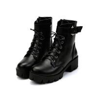 秋冬高跟复古马丁靴潮女英伦风机车靴子厚底系带粗跟短靴拉链女鞋真皮 黑色