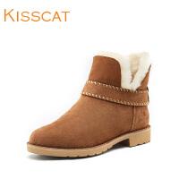 KISSCAT接吻猫2017秋新款简约时尚牛绒皮低跟雪地靴DA87791-P0