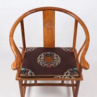 新中式古典刺绣花实木红木茶椅垫子中式红木沙发坐垫圈椅垫定制加厚亚麻太师椅官帽椅皇宫椅棕垫乳胶