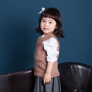 秋冬宝宝针织衫儿童开衫毛衣女童毛线背心冬季宝宝圆领马甲开衫