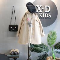 韩版童装冬装新品女童翻领廓形单排扣中长版毛呢大衣外套B7-T21