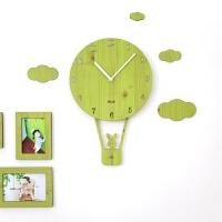 简约个性钟表儿童卧室静音家用时钟摇摆创意卡通挂钟客厅 浅绿色 赠送相框 12英寸