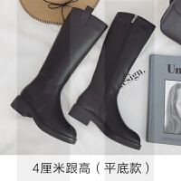 直筒长靴女中跟2018秋冬新款韩版长筒靴加绒中筒靴粗跟增高骑士靴SN6015 4厘米粗跟款 单里