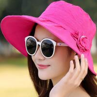 海滩度假旅游太阳帽 可折叠沙滩帽 女大沿遮阳帽 海边防晒草帽