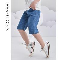 【3件2折:35.8】铅笔俱乐部童装2020夏装新款男童牛仔中裤中大童短裤儿童休闲裤子