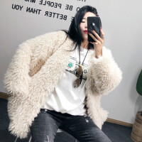 海宁2018新款时尚编织羊卷毛大衣中长款仿羊羔毛皮草外套女冬加厚