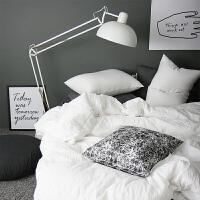 北欧纯白色深灰全棉1.5M床单四件套日式纯色水洗棉1.8M床笠1.2M床